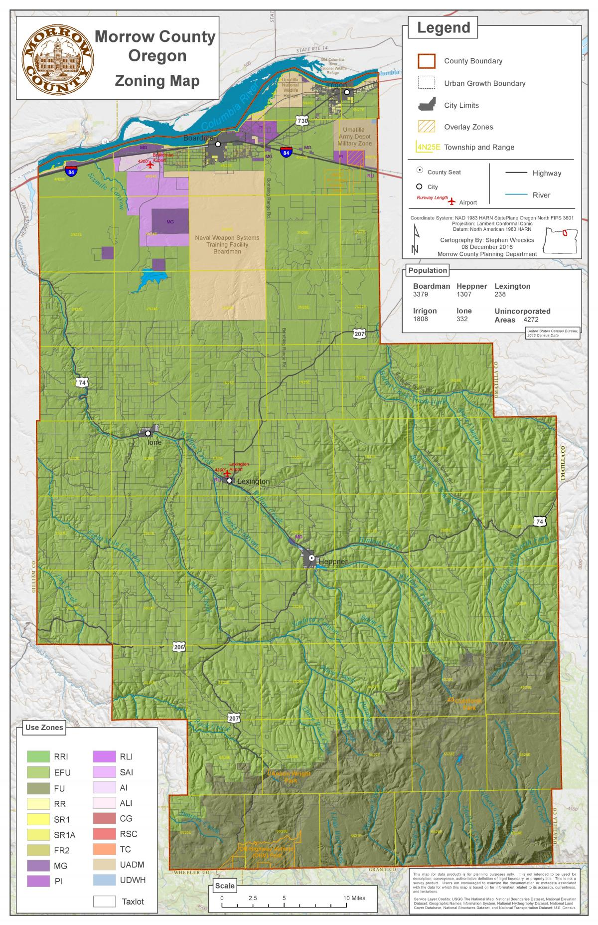 Irrigon Oregon Map.Land Use Zoning Map Morrow County Oregon